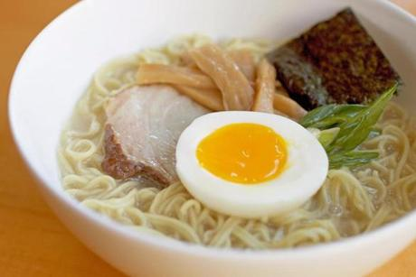One ramen bowl included an egg among the ingredients.